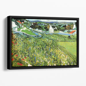 Vineyards with a View of Auvers by Van Gogh Floating Framed Canvas