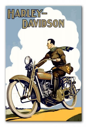Vintage Harley Davidson Print - Canvas Art Rocks - 1