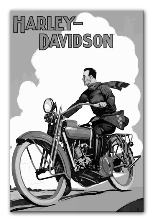Vintage Harley Davidson Print - Canvas Art Rocks - 4
