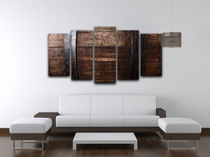 Vintage texture of oak barrel 5 Split Panel Canvas  - Canvas Art Rocks - 3