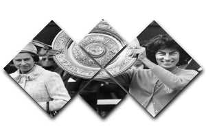 Virginia Wade tennis player 4 Square Multi Panel Canvas  - Canvas Art Rocks - 1