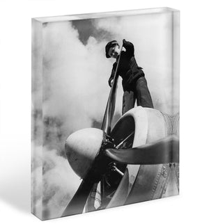 WW2 Oiling the propeller blade Acrylic Block - Canvas Art Rocks - 1
