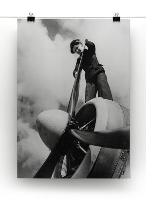 WW2 Oiling the propeller blade Canvas Print or Poster - Canvas Art Rocks - 2