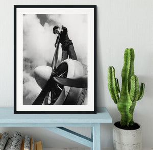 WW2 Oiling the propeller blade Framed Print - Canvas Art Rocks - 1
