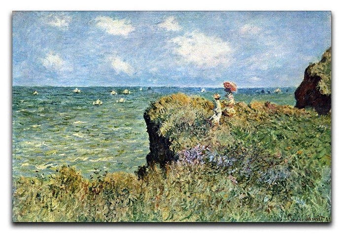 Walk on the cliffs by Monet Canvas Print or Poster