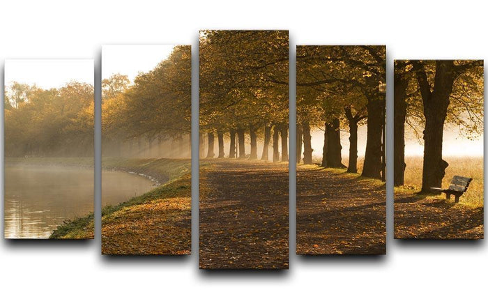 Walkway at the canal in morning 5 Split Panel Canvas