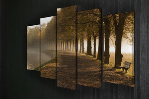 Walkway at the canal in morning 5 Split Panel Canvas  - Canvas Art Rocks - 2