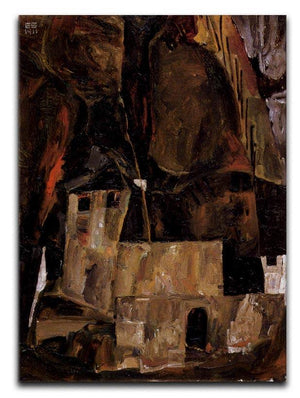 Wall and house and terrain with fence by Egon Schiele Canvas Print or Poster - Canvas Art Rocks - 1