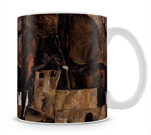 Wall and house and terrain with fence by Egon Schiele Mug - Canvas Art Rocks - 1
