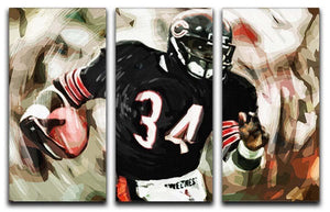 Walter Payton Chicago Bears 3 Split Panel Canvas Print - Canvas Art Rocks - 1