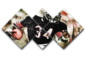 Walter Payton Chicago Bears 4 Square Multi Panel Canvas  - Canvas Art Rocks - 1