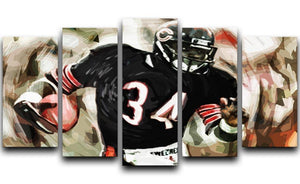 Walter Payton Chicago Bears 5 Split Panel Canvas  - Canvas Art Rocks - 1