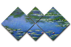 Water Lilies by Monet 4 Square Multi Panel Canvas  - Canvas Art Rocks - 1