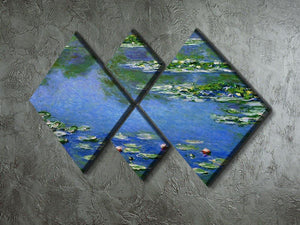 Water Lilies by Monet 4 Square Multi Panel Canvas - Canvas Art Rocks - 2