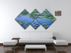 Water Lilies by Monet 4 Square Multi Panel Canvas - Canvas Art Rocks - 3