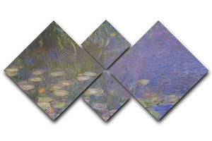 Water Lillies 13 by Monet 4 Square Multi Panel Canvas  - Canvas Art Rocks - 1