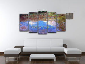 Water Lily Pond 4 by Monet 5 Split Panel Canvas - Canvas Art Rocks - 3