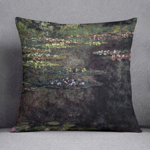 Water lilies water landscape 5 by Monet Throw Pillow