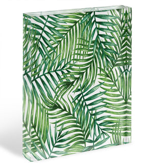 Watercolor tropical palm leaves Acrylic Block - Canvas Art Rocks - 1