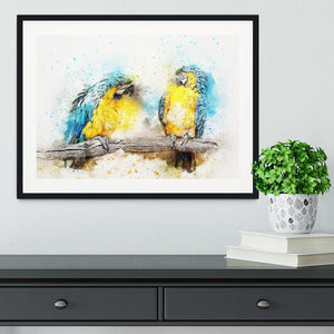 Watercolour Parrots Framed Print - Canvas Art Rocks - 1