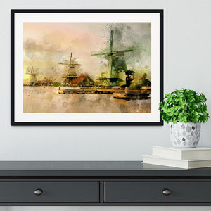 Watercolour Wind Mills Framed Print - Canvas Art Rocks - 1