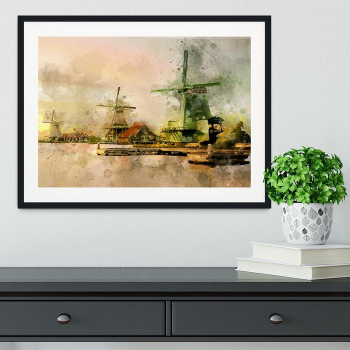 Watercolour Wind Mills Framed Print