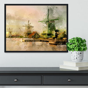 Watercolour Wind Mills Framed Print - Canvas Art Rocks - 2