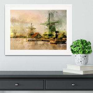 Watercolour Wind Mills Framed Print - Canvas Art Rocks - 5