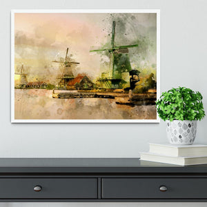 Watercolour Wind Mills Framed Print - Canvas Art Rocks -6