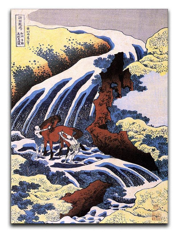 Waterfall and horse washing by Hokusai Canvas Print or Poster