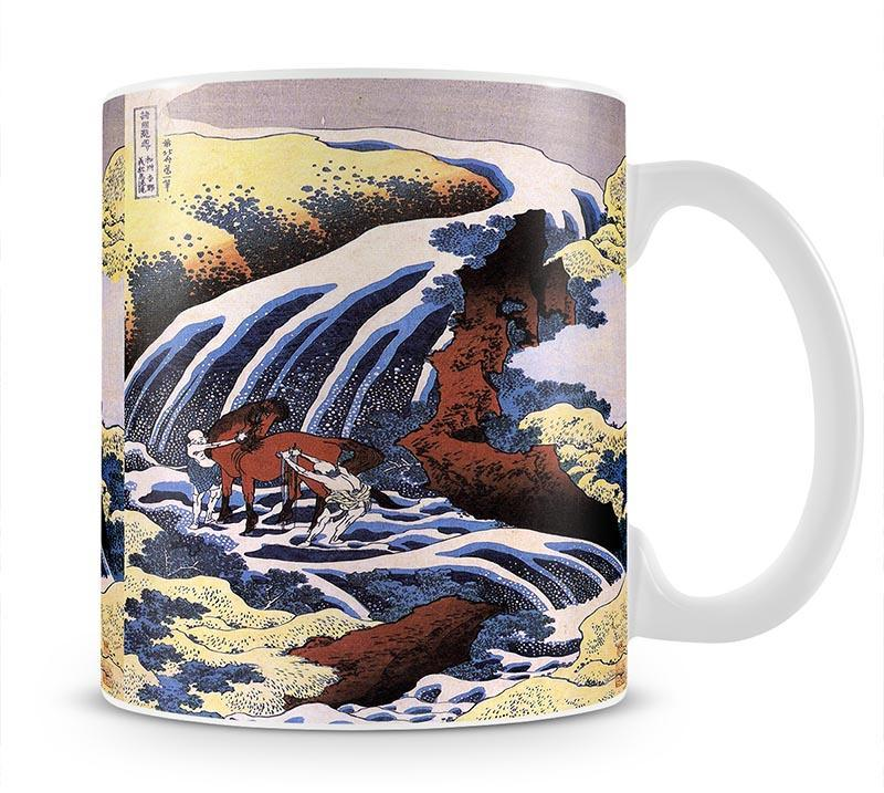 Waterfall and horse washing by Hokusai Mug - Canvas Art Rocks - 1