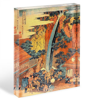 Waterfalls in all provinces 2 by Hokusai Acrylic Block - Canvas Art Rocks - 1