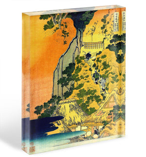 Waterfalls in all provinces by Hokusai Acrylic Block - Canvas Art Rocks - 1