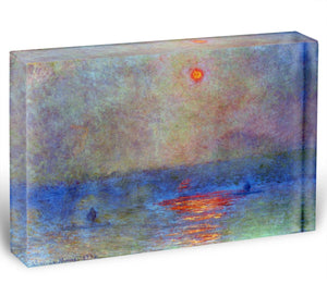 Waterloo Bridge the sun in the fog by Monet Acrylic Block - Canvas Art Rocks - 1