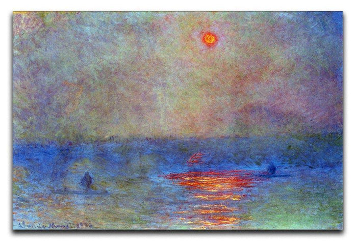 Waterloo Bridge the sun in the fog by Monet Canvas Print or Poster