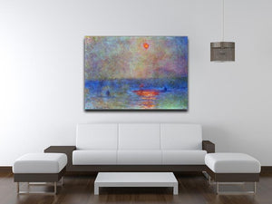 Waterloo Bridge the sun in the fog by Monet Canvas Print & Poster - Canvas Art Rocks - 4