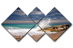 Wave crash on the stone 4 Square Multi Panel Canvas  - Canvas Art Rocks - 1