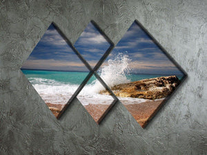 Wave crash on the stone 4 Square Multi Panel Canvas  - Canvas Art Rocks - 2