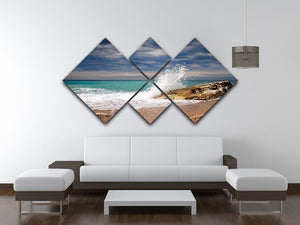 Wave crash on the stone 4 Square Multi Panel Canvas  - Canvas Art Rocks - 3
