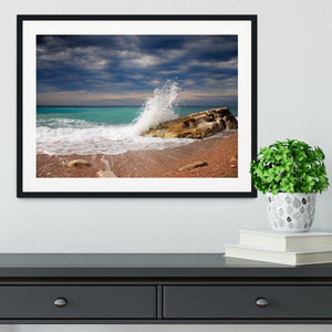 Wave crash on the stone Framed Print - Canvas Art Rocks - 1