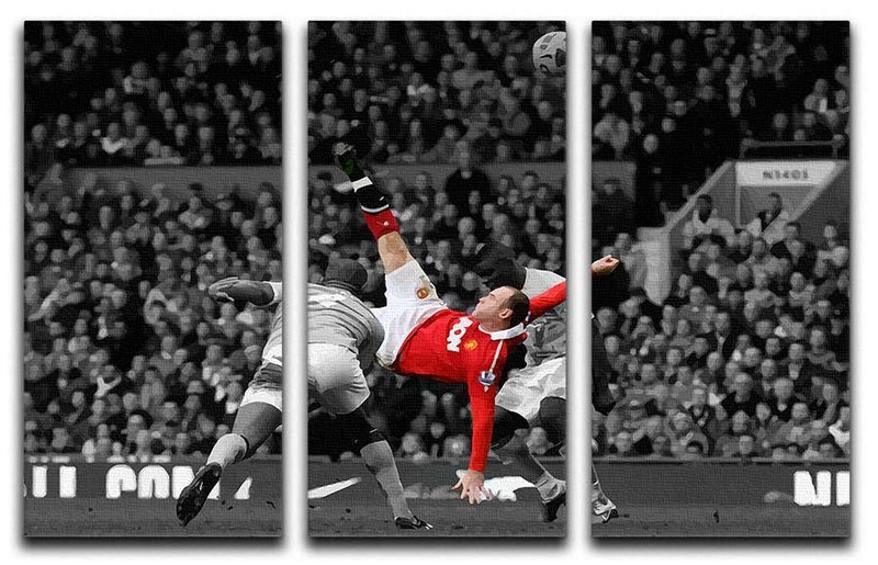 Wayne Rooney Bicycle Kick 3 Split Panel Canvas Print - Canvas Art Rocks - 1
