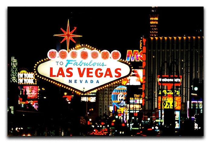 Welcome To Las Vegas At Night Canvas Print or Poster