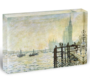 Westminster Bridge in London by Monet Acrylic Block - Canvas Art Rocks - 1