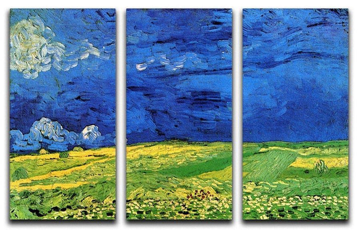 Wheat Field Under Clouded Sky by Van Gogh 3 Split Panel Canvas Print