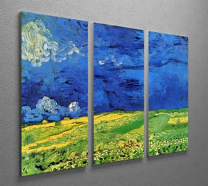 Wheat Field Under Clouded Sky by Van Gogh 3 Split Panel Canvas Print - Canvas Art Rocks - 4