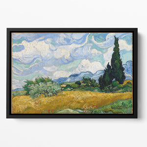 Wheat Field with Cypresses Floating Framed Canvas