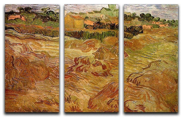 Wheat Fields with Auvers in the Background by Van Gogh 3 Split Panel Canvas Print