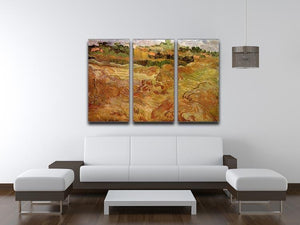 Wheat Fields with Auvers in the Background by Van Gogh 3 Split Panel Canvas Print - Canvas Art Rocks - 4