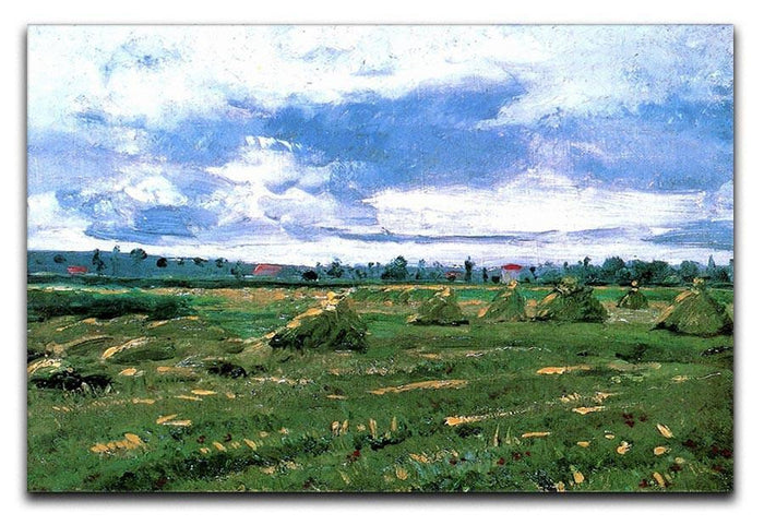 Wheat Fields with Stacks by Van Gogh Canvas Print or Poster