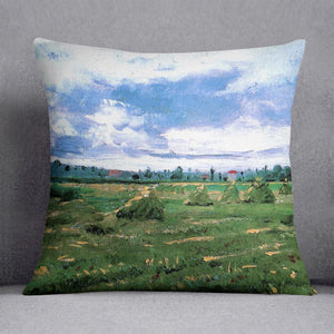 Wheat Fields with Stacks by Van Gogh Throw Pillow
